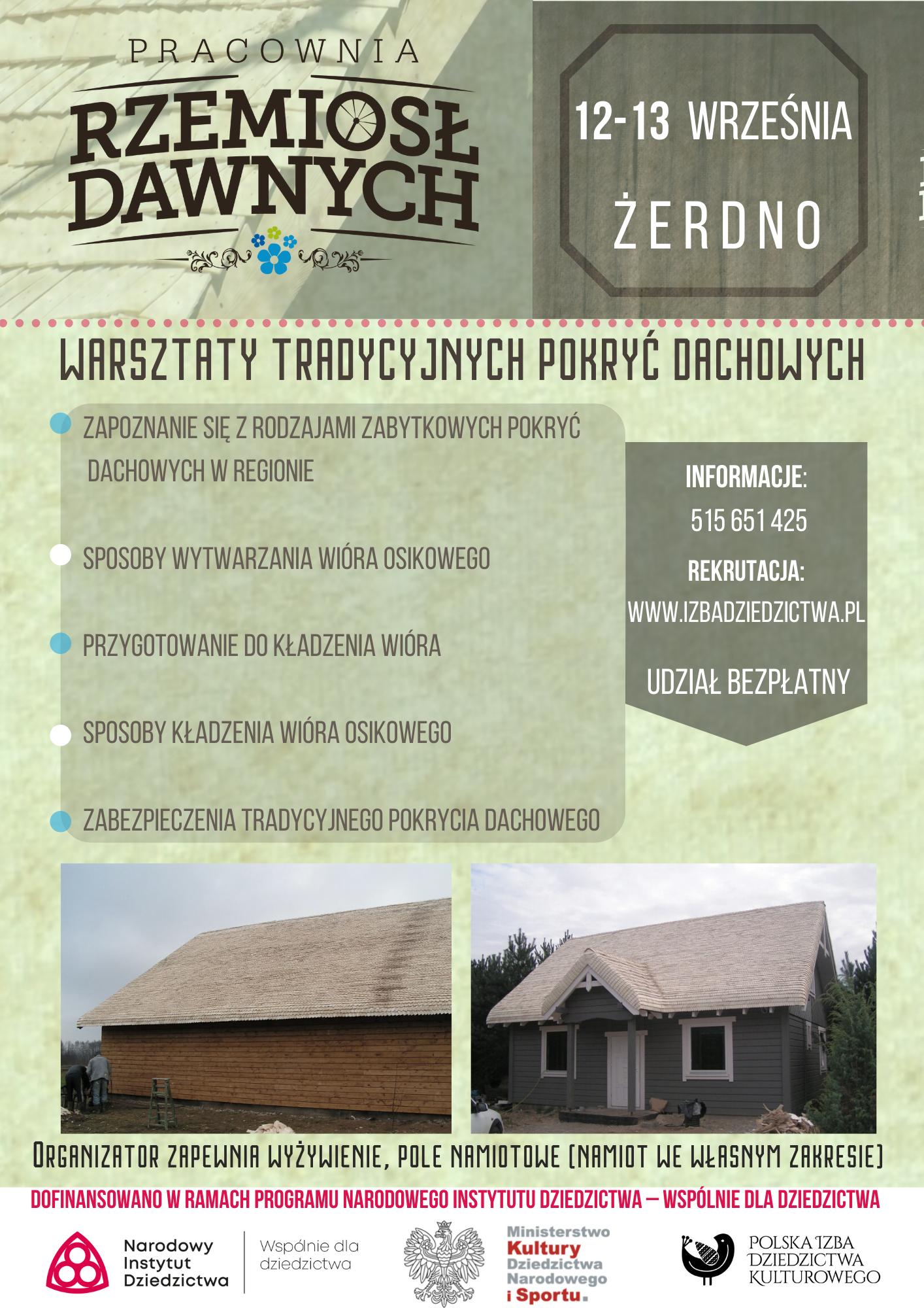 Rekrutacja, warsztaty tradycyjnych pokryć dachowych 12-13 września 2021